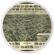 Old Map Of Amityville New York Round Beach Towel