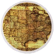 Old Map United States Round Beach Towel