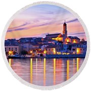 Old Mediterranean Town Of Betina Sunset View Round Beach Towel