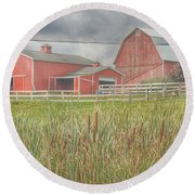 0033 - Old Meets New Round Beach Towel