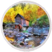 Old Mill Aquarelle Round Beach Towel