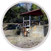 Round Beach Towel featuring the photograph Old Mill Of Guilford Pumphouse by Sandi OReilly
