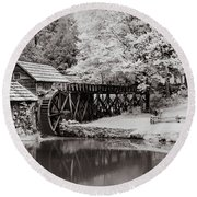 Old Mill On The Mountain Round Beach Towel