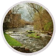 Old Mill On The River Round Beach Towel