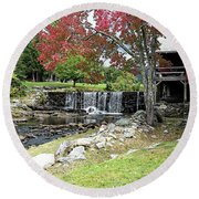 Old Mill - Weston, Vermont Round Beach Towel by Joseph Hendrix