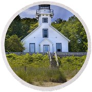 Old Mission Point Lighthouse In Grand Traverse Bay Michigan Number 2 Round Beach Towel by Randall Nyhof