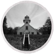 Old Mission Point Lighthouse Round Beach Towel