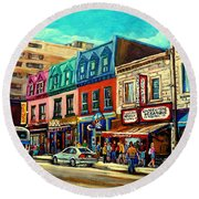 Old Montreal Schwartzs Deli Plateau Montreal City Scenes Round Beach Towel by Carole Spandau