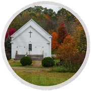 Old New England Church Round Beach Towel