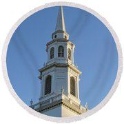 Old New England Church Steeple Concord Round Beach Towel