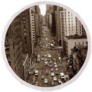 Old New York Photo - 10th Avenue Traffic Round Beach Towel