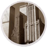 Old New York Photo - Woolworth Building And World Trade Center Round Beach Towel