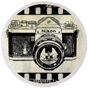 Old Nikon F Round Beach Towel