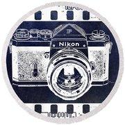 Old Nikon F Negative Round Beach Towel