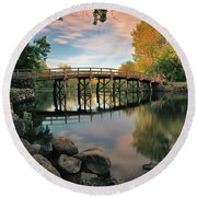 Old North Bridge Round Beach Towel