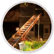 Old North Carolina Barn And Rusty Equipment   Round Beach Towel by Wilma Birdwell