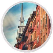 Round Beach Towel featuring the photograph Old North Church - Boston North End by Joann Vitali