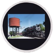 Old Number 90 Steam Engine Round Beach Towel