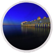 Old Orchard Beach Pier At Sunrise Round Beach Towel