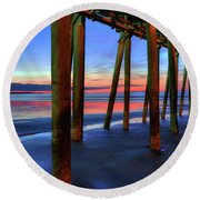 Round Beach Towel featuring the photograph Old Orchard Beach Pier -maine Coastal Art by Joann Vitali