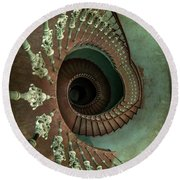 Old Ornamented Spiral Staircase Round Beach Towel