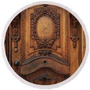 Old Ornamented Wooden Doors Round Beach Towel by Jaroslaw Blaminsky