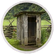 Old Outhouse On A Farm In The Smokey Mountains Round Beach Towel