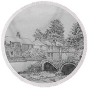 Old Packhorse Bridge Wycoller Round Beach Towel by Anthony Lyon