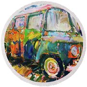 Old Paint Car Round Beach Towel