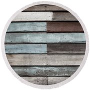Old Pale Wood Wall Round Beach Towel
