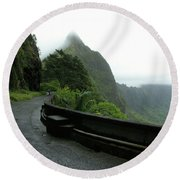 Round Beach Towel featuring the photograph Old Pali Road, Oahu, Hawaii by Mark Czerniec
