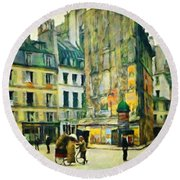 Old Paris Round Beach Towel