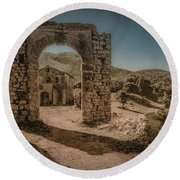 Round Beach Towel featuring the photograph Old Perithia, Corfu, Greece - Gate by Mark Forte