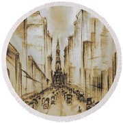 Old Philadelphia City Hall 1920 - Vintage Art Round Beach Towel by Art America Gallery Peter Potter