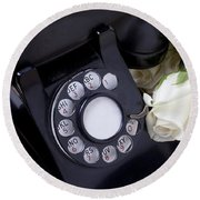 Old Phone And White Roses Round Beach Towel