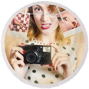 Old Photo Collection Pin-up Round Beach Towel