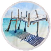 Old Pier On Playa Paraiso Round Beach Towel