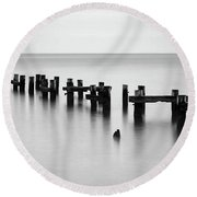 Old Pilings Black And White Round Beach Towel