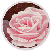 Old Pink Rose Round Beach Towel