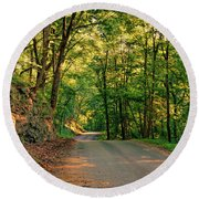 Round Beach Towel featuring the photograph Old Plank Road by Cricket Hackmann