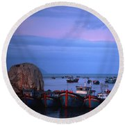 Old Port Of Nha Trang In Vietnam Round Beach Towel