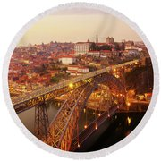 old Porto at  Pink Sunset, Portugal Round Beach Towel