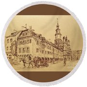 Old Poznan Drawing Round Beach Towel