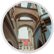 Round Beach Towel featuring the photograph Old Prague Architecture 1 by Jenny Rainbow