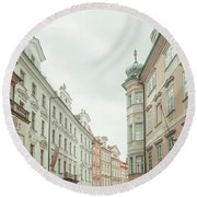 Round Beach Towel featuring the photograph Old Prague Buildings. Staromestska Square by Jenny Rainbow