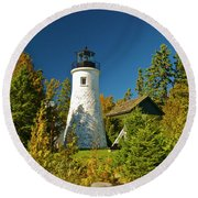 Old Presque Isle Lighthouse_9488 Round Beach Towel