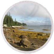 Old Quarry Beach, Stonington, Me Round Beach Towel