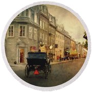 Old Quebec Round Beach Towel