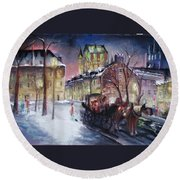 old Quebec Round Beach Towel by Peter Suhocke