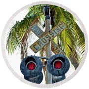 Old Railroad Crossing Sign Round Beach Towel